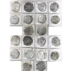Lot of 10 Potosi, Bolivia, cob 8 reales, Philip III, various assayers (where visible), all Grade 3.