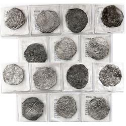 Lot of 7 Potosi, Bolivia, cob 8 reales, Philip III, various assayers (where visible), Grade-3 qualit