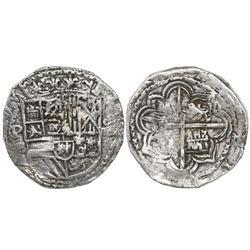 Potosi, Bolivia, cob 4 reales, Philip II, assayer B (5th period), borders of x's, Grade-1 quality bu