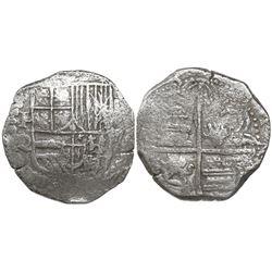 Potosi, Bolivia, cob 4 reales, Philip III, assayer Q, Grade 2, replacement certificate.