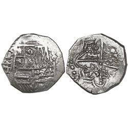 Potosi, Bolivia, cob 4 reales, Philip III, assayer T, Grade 1, certificate missing.