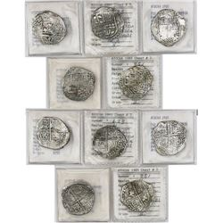 Lot of 5 Potosi, Bolivia, cob 4 reales, Philip III, various assayers (where visible), all Grade 2 (o
