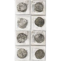 Lot of 4 Potosi, Bolivia, cob 4 reales, Philip III, various assayers (where visible), Grade-2 or -3