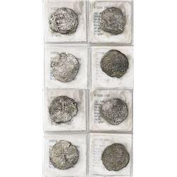 Lot of 4 Potosi, Bolivia, cob 4 reales, Philip III, various assayers (where visible), Grade-2 or -3