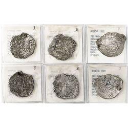 Lot of 3 Potosi, Bolivia, cob 4 reales, Philip III, assayers R, Q and not visible, all Grade 3.