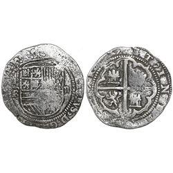 "Potosi, Bolivia, cob 2 reales, Philip II, assayer B (1st period, ""Lima style""), Grade-1 or -2 qualit"