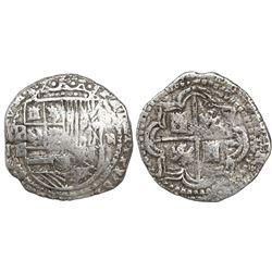Potosi, Bolivia, cob 2 reales, Philip II, assayer B (5th period), border of x's on obverse, border o