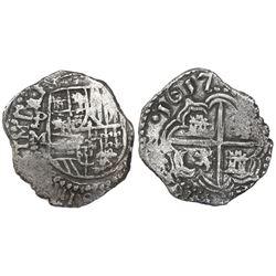 Potosi, Bolivia, cob 2 reales, 1617M, Grade 1, ex-Research Collection (Plate Coin).