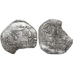 Panama, cob 2 reales, Philip II, assayer oB to left, Grade-2 quality (no Grade on certificate), ex-R