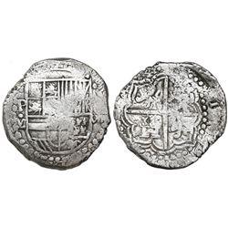 Potosi, Bolivia, cob 8 reales, Philip III, assayer M, quadrants of cross transposed, Grade 1.