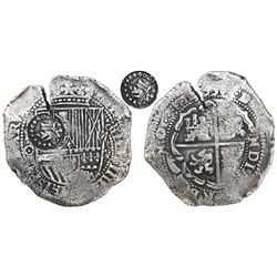 Potosi, Bolivia, cob 8 reales, 1650O, modern 5, with crown-alone countermark (common variety) on shi