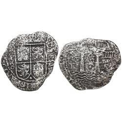 Potosi, Bolivia, cob 8 reales, (16)52E transitional Type III, rare, ex-Mastalir collection.