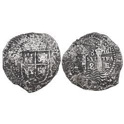 Potosi, Bolivia, cob 8 reales, (165)2E transitional Type IV, ex-Mastalir collection.