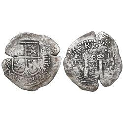Potosi, Bolivia, cob 8 reales, (16)52E transitional Type IV, ex-Mastalir collection, ex-McClung.
