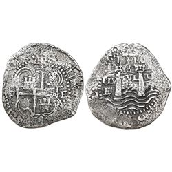 Potosi, Bolivia, cob 8 reales, 1652E, post-transitional (Type VIII/B), 1-PH-6 at top