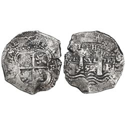 Potosi, Bolivia, cob 8 reales, 1652E post-transitional (Type VIII/B), 1•PH•(6) at top, ex-Mastalir c