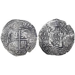 Potosi, Bolivia, cob 8 reales, 1652E post-transitional (Type VIII/B), 1-PH-6 at top, ex-Mastalir col