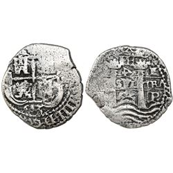 Potosi, Bolivia, cob 4 reales, 1653E, PH at top, denomination 4 in retrograde.