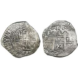 Potosi, Bolivia, cob 4 reales, 1653E, PH at top.