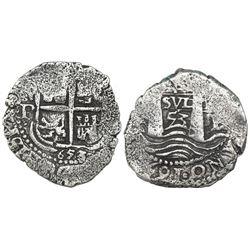 Potosi, Bolivia, cob 4 reales, 1653( E).