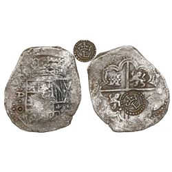 Potosi, Bolivia, cob 8 reales, early 1640s design, fraudulently altered (ca. 1649) with new assayer