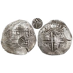 Potosi, Bolivia, cob 8 reales, (16)49O, with crowned-•F• (two dots) countermark on shield.