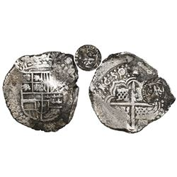 Potosi, Bolivia, cob 8 reales, 1650/9 (rare overdate), early-style date, assayer O, with crowned-Z c