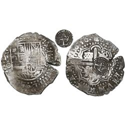 Potosi, Bolivia, cob 8 reales, 1650O, early-style date, with crowned-L countermark on cross.