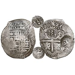 Potosi, Bolivia, cob 8 reales, (16)50O, early-style date, with two countermarks on cross (rare): cro
