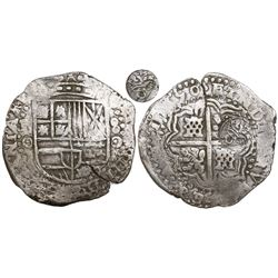 Potosi, Bolivia, cob 8 reales, 1650O, early-style date, with crowned-O countermark on cross.