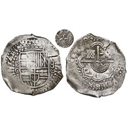 Potosi, Bolivia, cob 8 reales, 1650O, early-style date, with crowned-S countermark on cross.