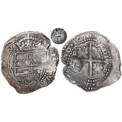 Potosi, Bolivia, cob 8 reales, 1650O, Latin 5, with crowned-T countermark (rare) on cross.
