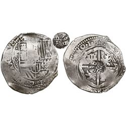 Potosi, Bolivia, cob 8 reales, •1•6•5•(0•) modern 5, assayer O, with crude lions-and-castles counter