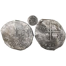 Potosi, Bolivia, cob 8 reales, (1650-1)O, with crowned script-a countermark (rare, attributed to Are