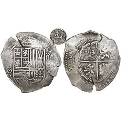 Potosi, Bolivia, cob 8 reales, (1650-1)O, with crowned-L countermark on cross.