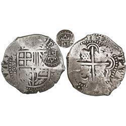 Potosi, Bolivia, cob 8 reales, (1650-1)O, with crowned-PH countermark on shield.