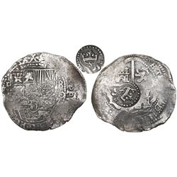 Potosi, Bolivia, cob 8 reales, (1650-1)O, with crowned-S countermark on cross.