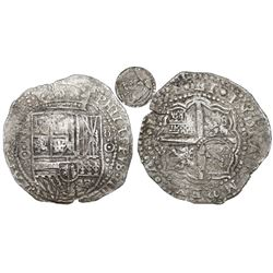 Potosi, Bolivia, cob 8 reales, 1651O, Latin 5, with crowned-L countermark on cross.