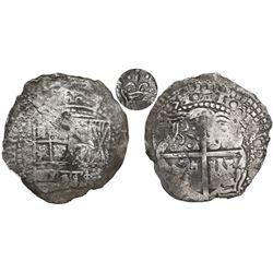Potosi, Bolivia, cob 8 reales, (1)651(O or E), with crown-alone (rare style) countermark on cross.