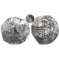 Potosi, Bolivia, cob 8 reales, (1651)E/O, with crowned-? countermark on shield.