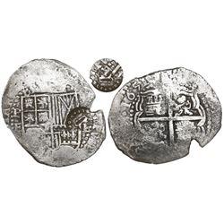 Potosi, Bolivia, cob 8 reales, 1651E, Latin 5, mintmark P punched over denomination 8 (unique error)