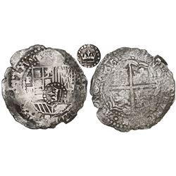 Potosi, Bolivia, cob 8 reales, 1651E, Latin 5, with crown-alone (common variety) countermark on shie