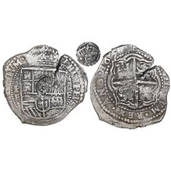 Potosi, Bolivia, cob 8 reales, 1651E, Latin 5, with crowned-•F• (two dots) countermark on shield.