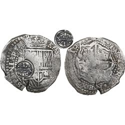Potosi, Bolivia, cob 8 reales, 1651E, Latin 5, with crowned-•T• countermark (rare) on shield.