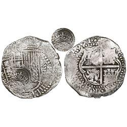 Potosi, Bolivia, cob 8 reales, 1651E, Latin 5, with crowned-(?) countermark on shield.