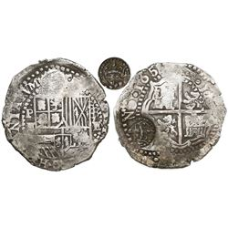 Potosi, Bolivia, cob 8 reales, 165(1)E, modern 5, with crowned-L countermark on cross.