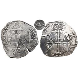 Potosi, Bolivia, cob 8 reales, 16(5)1E, with crown-alone (common variety) countermark on shield.