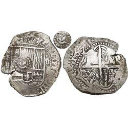 Potosi, Bolivia, cob 8 reales, 1651E, with crown-alone (common variety) countermark on shield.