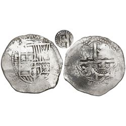 Potosi, Bolivia, cob 8 reales, (165)1E, with crowned-o (lower case) countermark on cross.