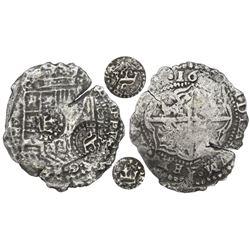 Potosi, Bolivia, cob 8 reales, 16(51-2)E, with two countermarks on shield (rare): crowned-C (rare) a